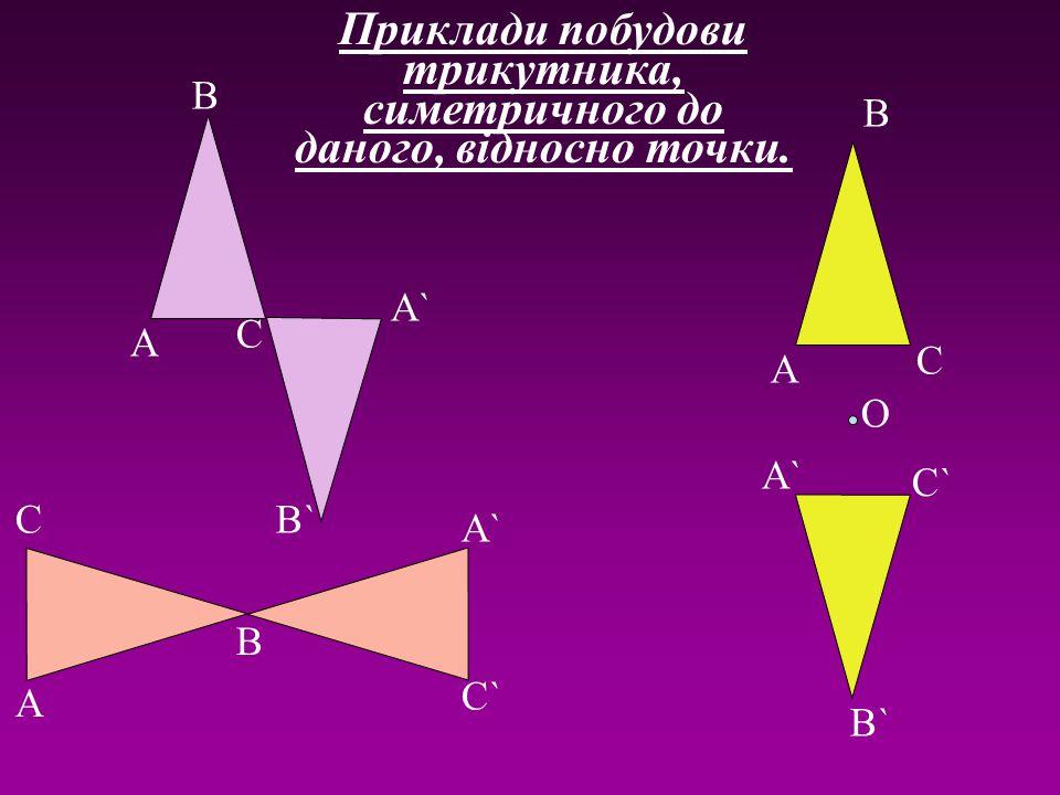Приклади побудови трикутника, симетричного до даного, відносно точки.