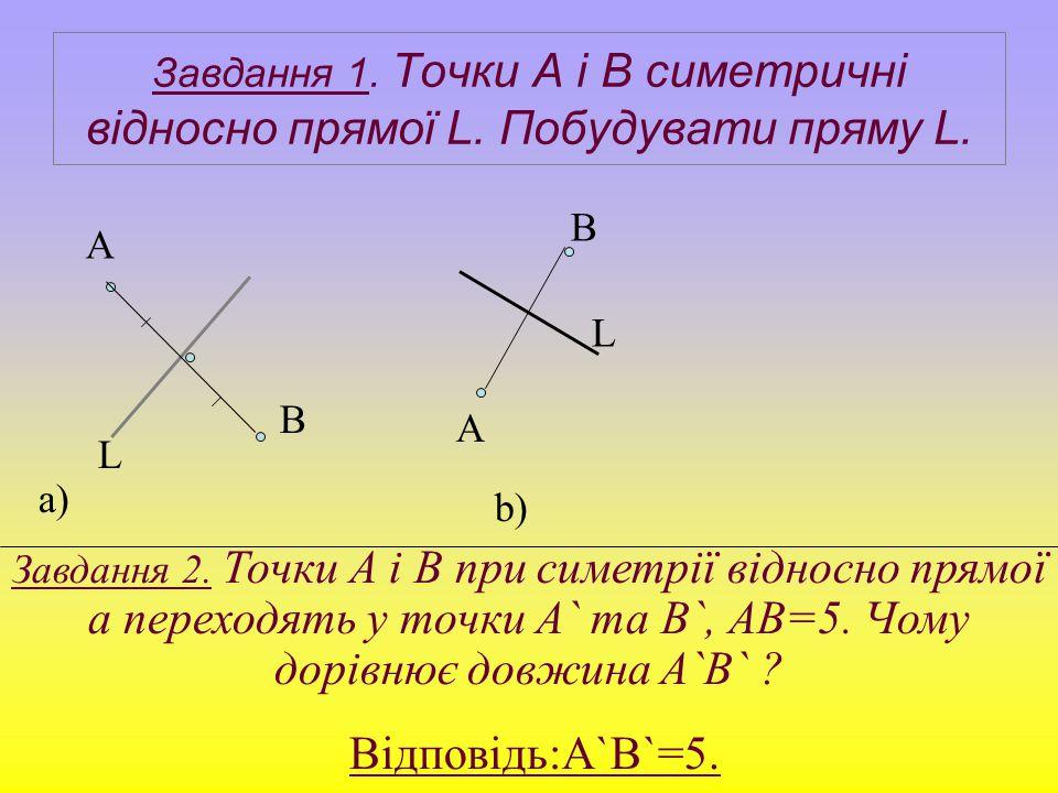 Завдання 1. Точки А і В симетричні відносно прямої L