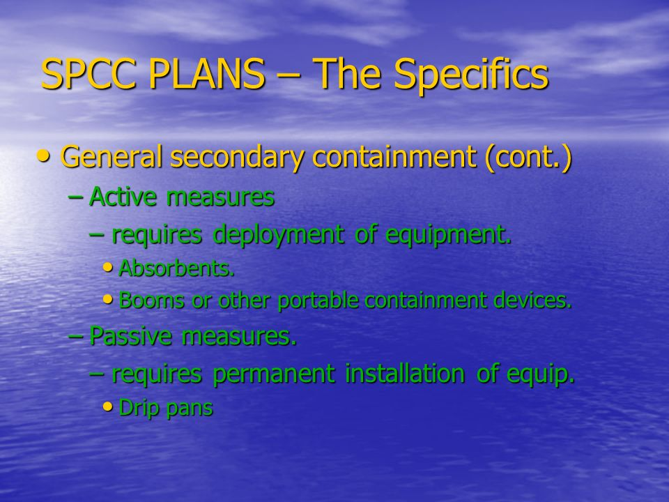 SPCC PLANS – The Specifics