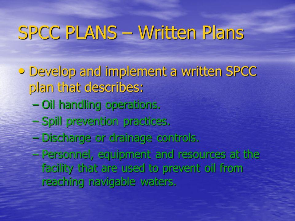 SPCC PLANS – Written Plans