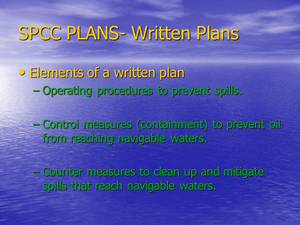 SPCC PLANS- Written Plans