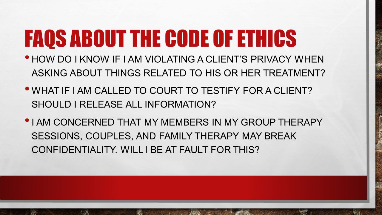 confidentiality in group therapy Confidentiality in group therapy is also a special situation in group therapy, the other members of the group are not therapists they do not have the same ethics and laws that i have to work under you cannot be certain that they will always keep what you say in the group.