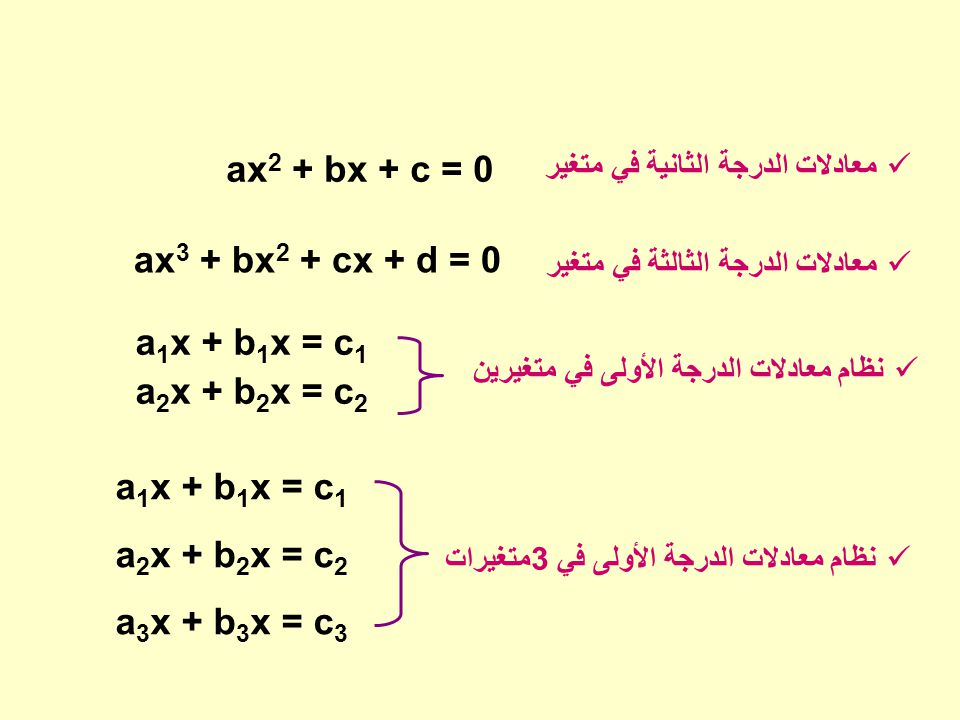 a1x + b1x = c1 a2x + b2x = c2 a3x + b3x = c3