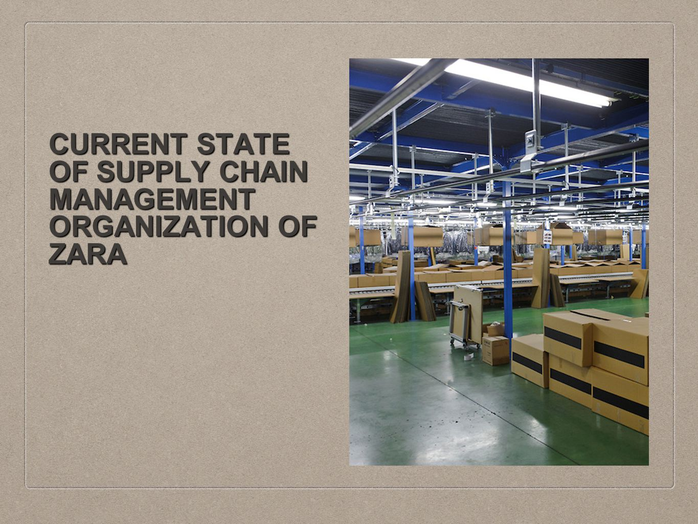 marketing supply chain management and zara Inditex-zara's super-responsive supply chain reduces 'bullwhip effect', order-to-delivery lead time to stores, ensures lean inventory and high level of responsiveness to adapt and deliver products to stores with latest fashion trends and customer feedbacks at a rapid speed.