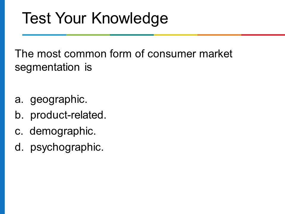 """market segmentation demographic psychographic and geographic Concentration of marketing energy (or force) is the essence of all marketing strategy, and market segmentation is the conceptual tool to help achieve this focus before discussing psychographic or lifestyle segmentation (which is what most of us mean when using the term """"segmentation""""), let's review other types of market segmentation."""