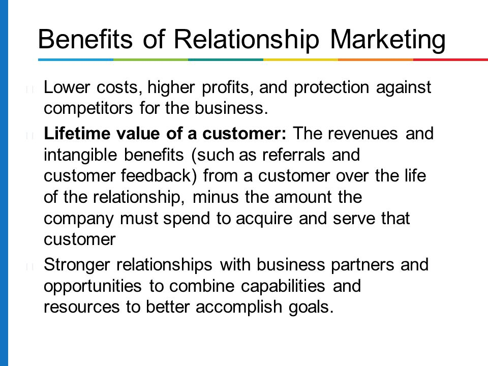 relationship marketing benefits and features