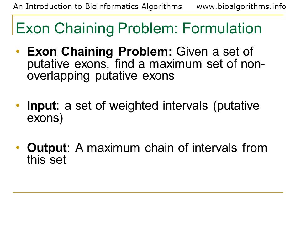 Exon Chaining Problem: Formulation
