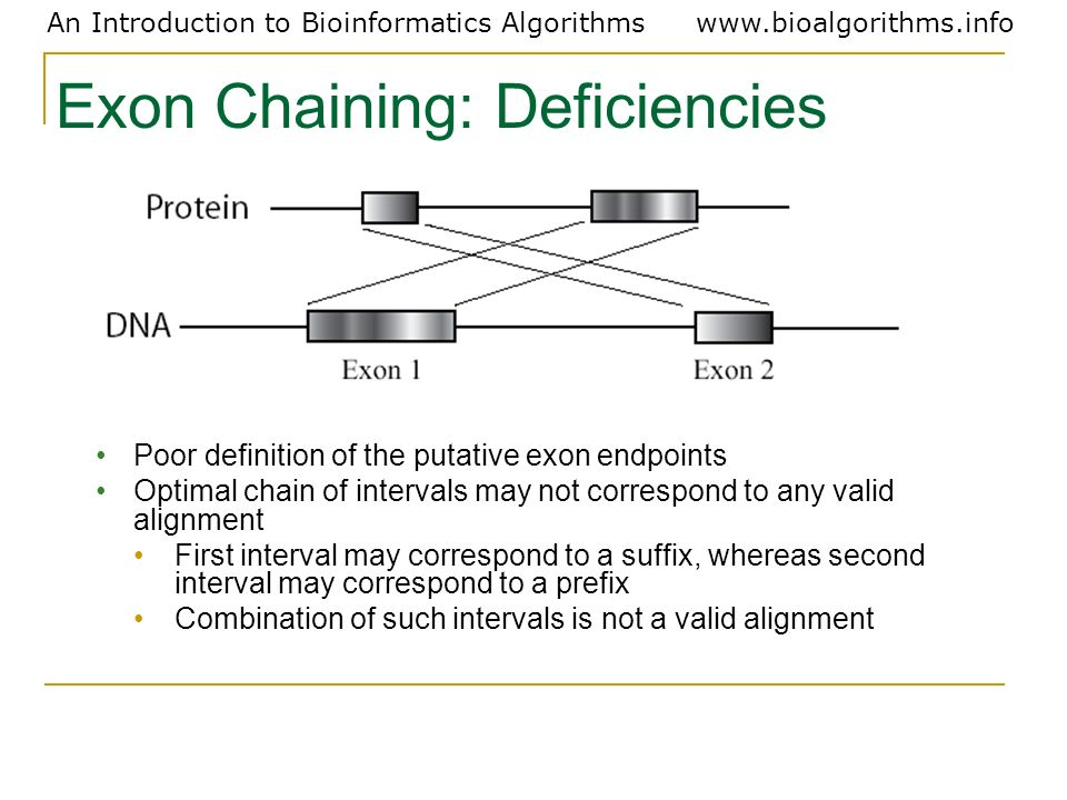 Exon Chaining: Deficiencies
