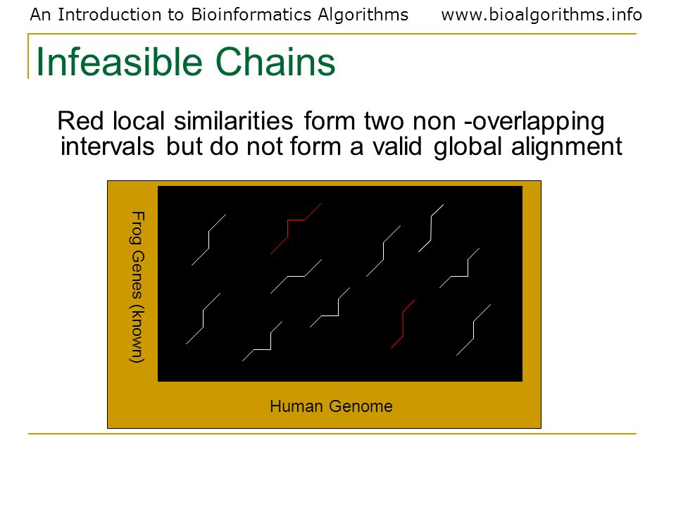 Infeasible Chains Red local similarities form two non -overlapping intervals but do not form a valid global alignment.