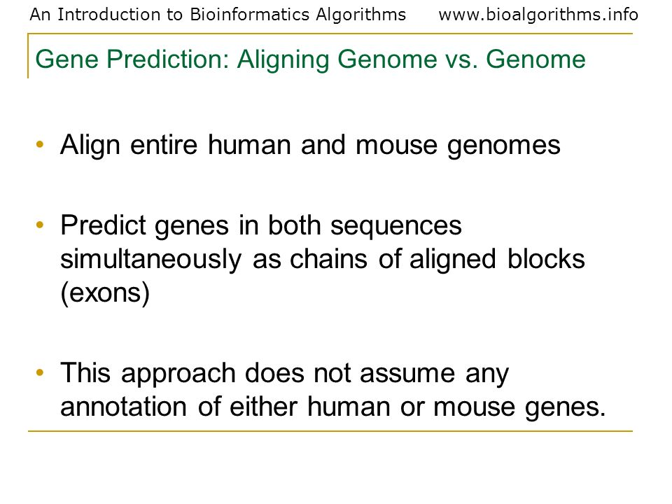 Gene Prediction: Aligning Genome vs. Genome