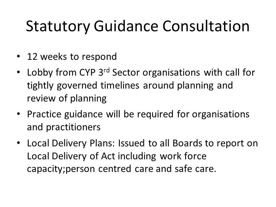 Statutory Guidance Consultation