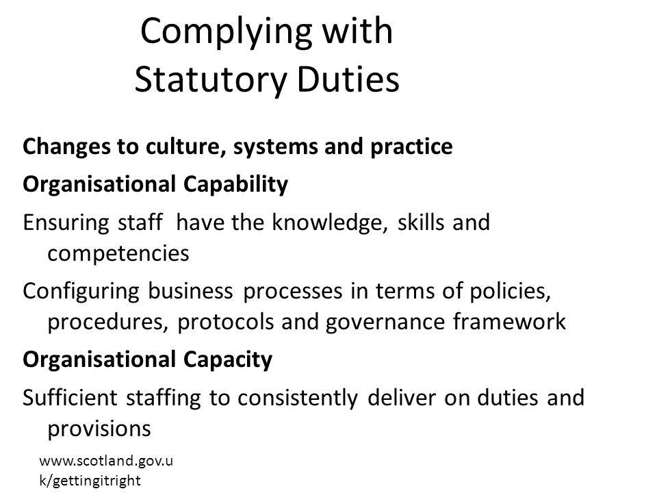 Complying with Statutory Duties