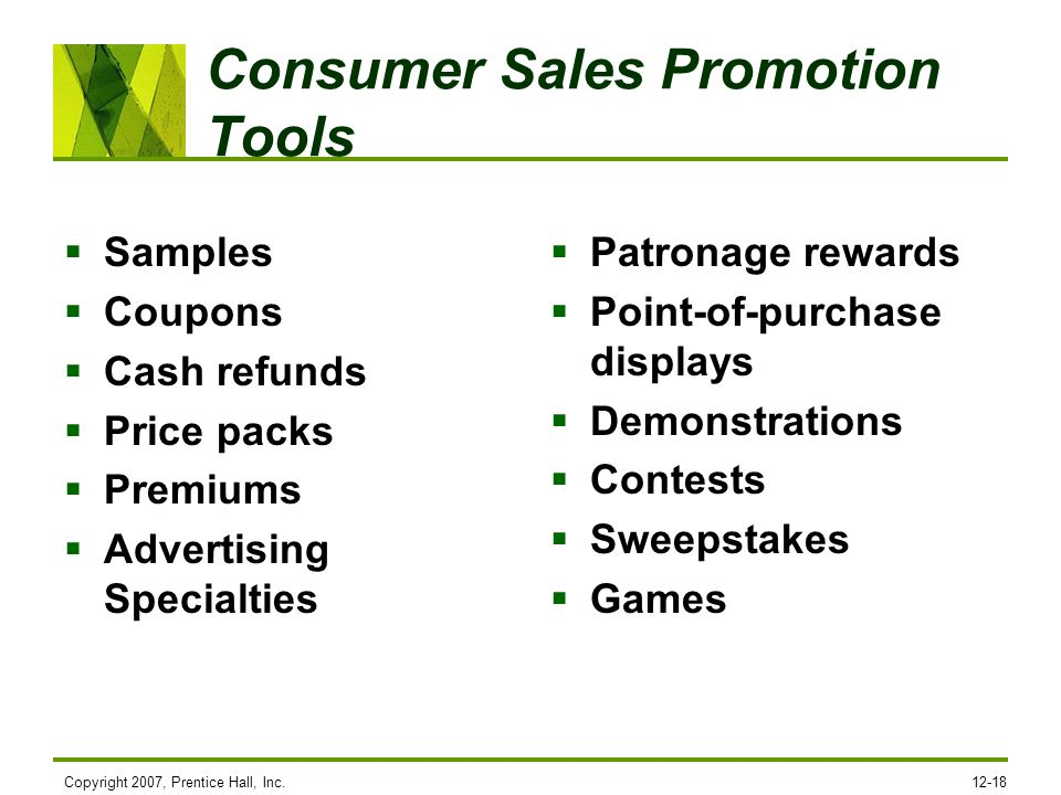 Consumer Sales Promotion Tools