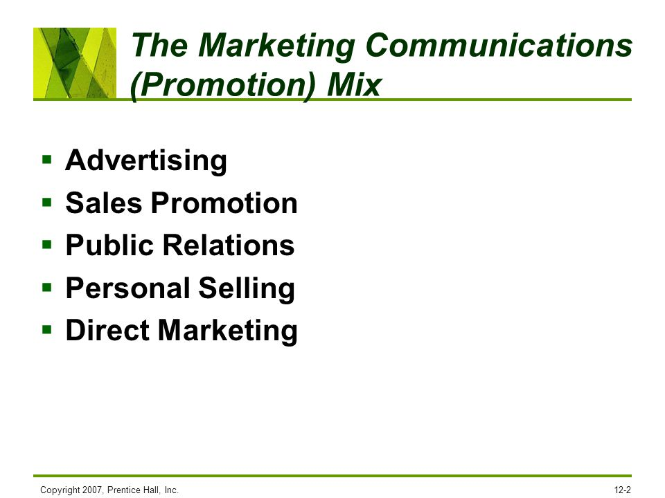 The Marketing Communications (Promotion) Mix