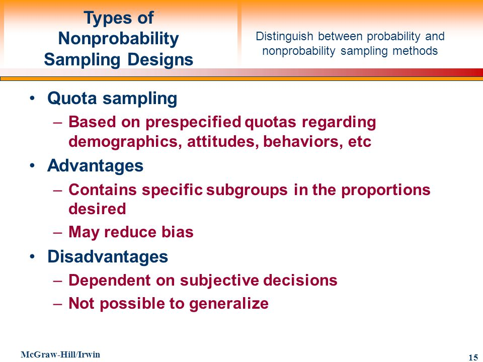 Types of Nonprobability Sampling Designs