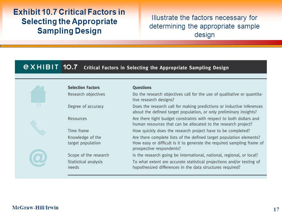 Exhibit 10.7 Critical Factors in Selecting the Appropriate Sampling Design