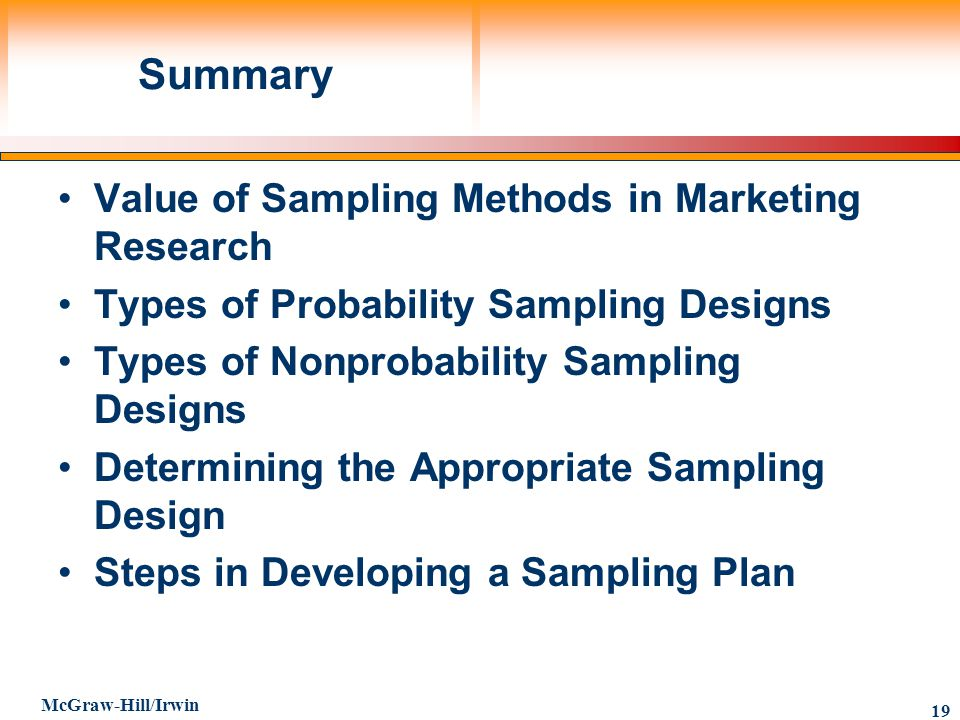 Summary Value of Sampling Methods in Marketing Research