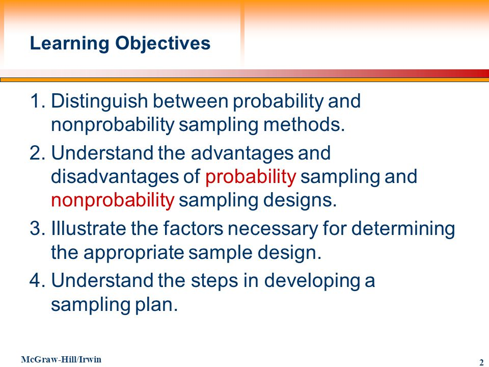 Distinguish between probability and nonprobability sampling ...