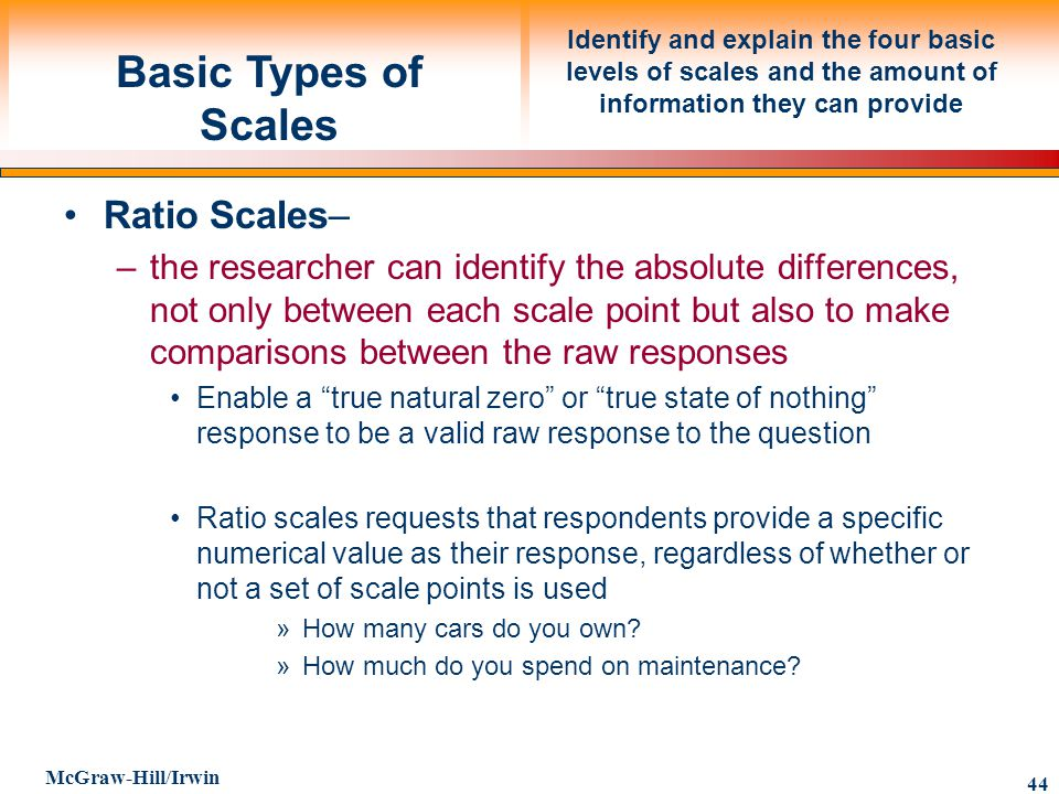 Basic Types of Scales Ratio Scales–