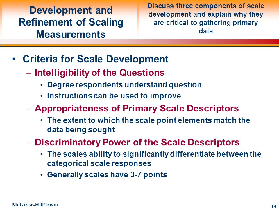 Development and Refinement of Scaling Measurements