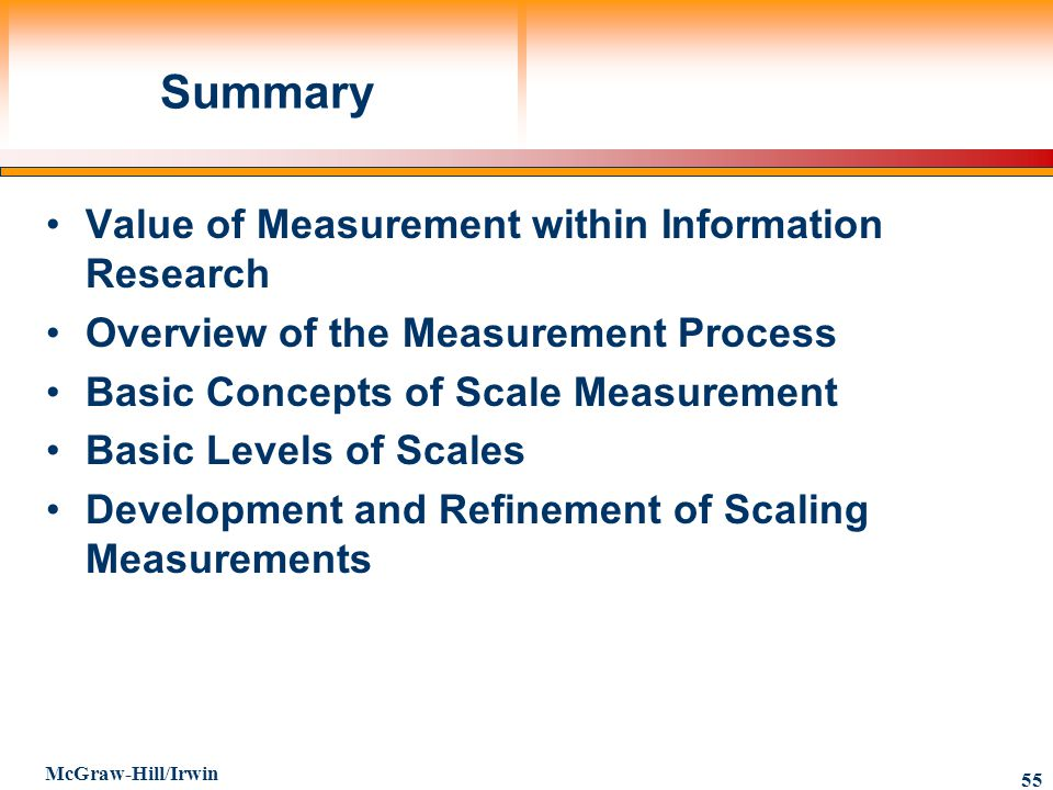 Summary Value of Measurement within Information Research