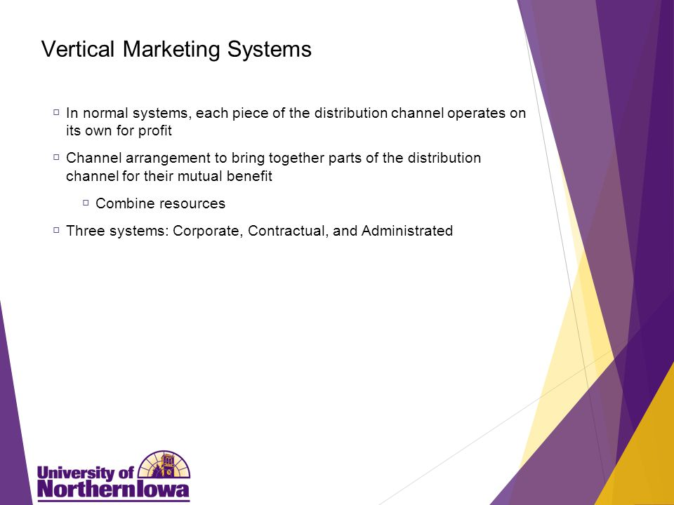 Corporate Systems A company purchases pieces of the distribution channel. Forward integration. Purchase the next level down in the channel.