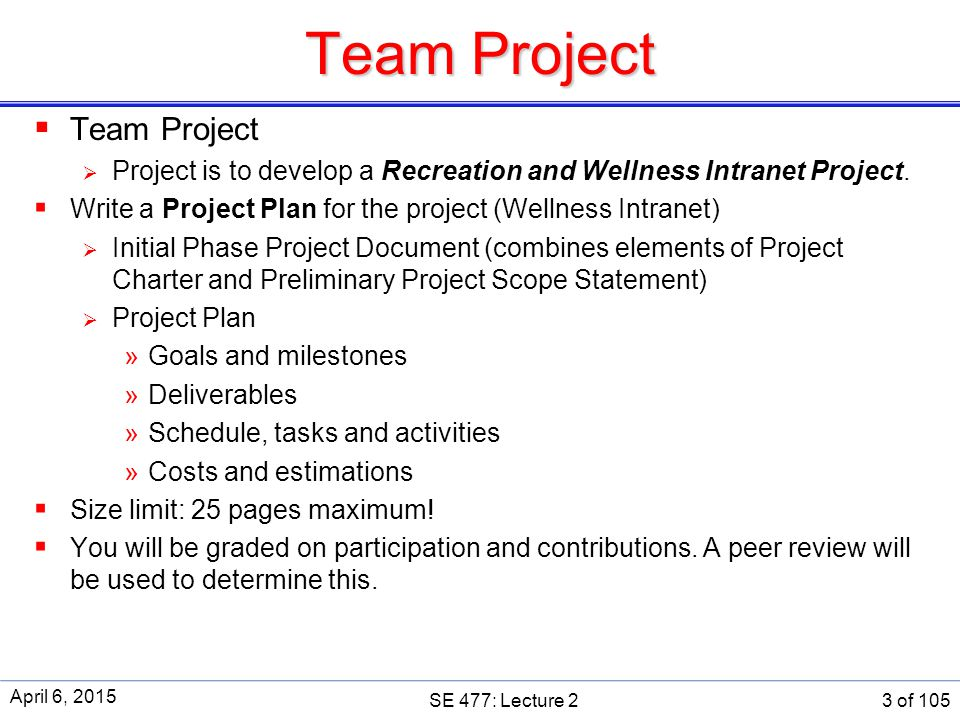 baseline for recreation and wellness intranet Prepare a project charter for the recreation and wellness intranet project assume that the project will take six months to complete and cost about $200,000 use the project charter template provided in this text and the sample project charter provided in table 41 as guides.