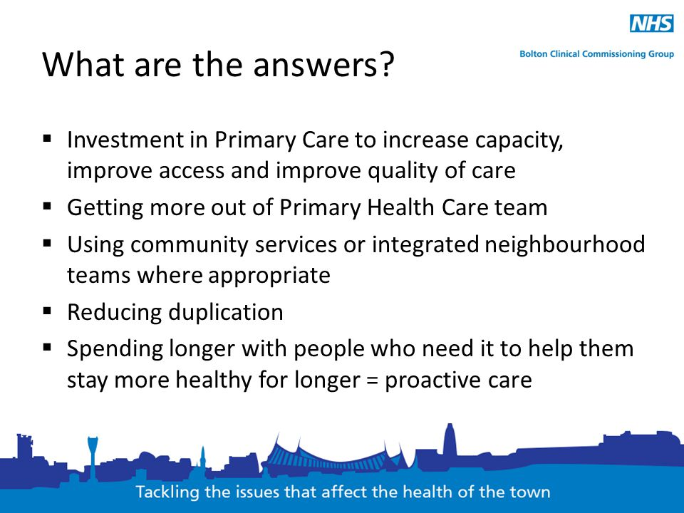 What are the answers Investment in Primary Care to increase capacity, improve access and improve quality of care.