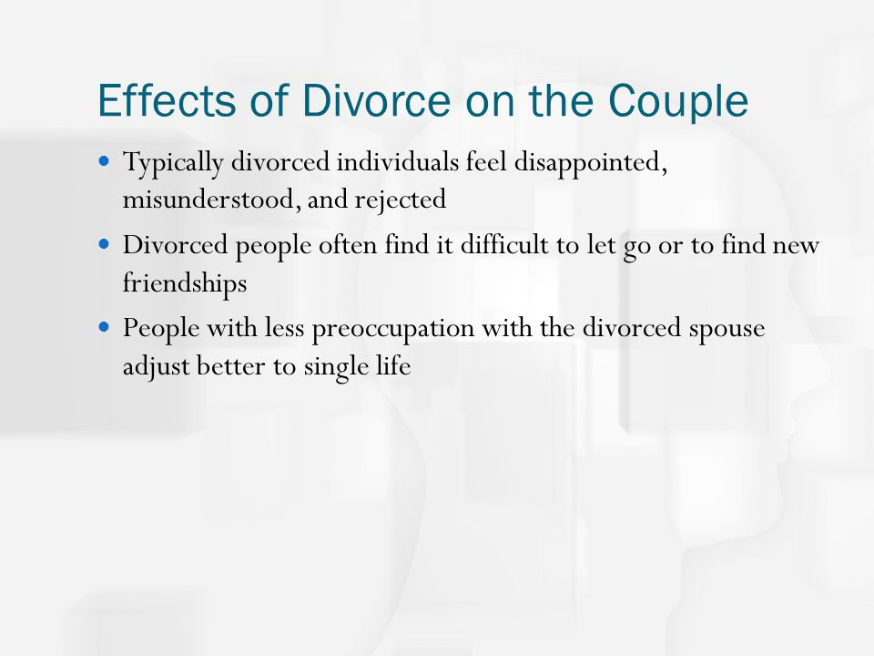 the effect of divorce Mounting evidence demonstrates that the devastating physical, emotional, and financial effects that divorce is having on these children will last into adulthood restoring the importance of marriage will require politicians and civic leaders to make this one of their most important tasks.