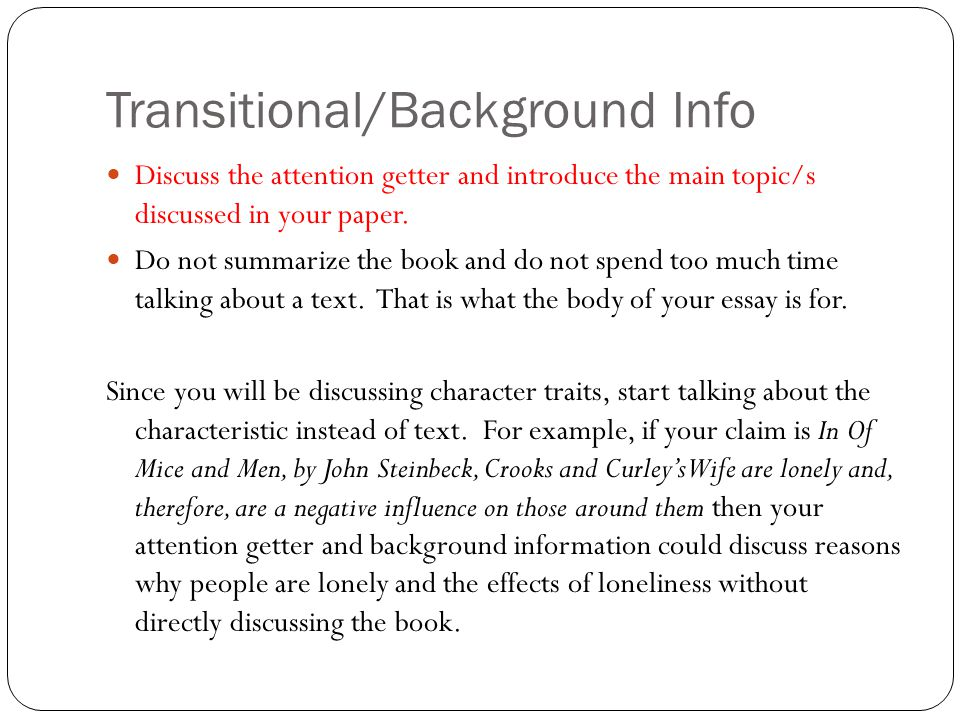 character traits a literary analysis ppt  4 transitional background info