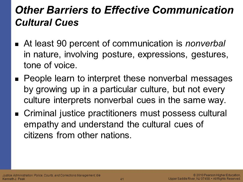 barriers to effective communication criminal justice Barriers to effective communication cja 304 barriers to effective communication effective communication is a major element to success in any relationship, business, or organization communication barriers attempt to impede, and in some instances stop, the successful completion of the communication process.