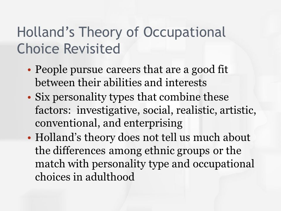 occupational choice personality matters Rev ed of: career choice and development / duane brown, linda brooks, and  associates 3rd ed  personalities, and self-precepts and how these  developments influ- ence decision  propositions to clarify this matter theorists  who wish to.