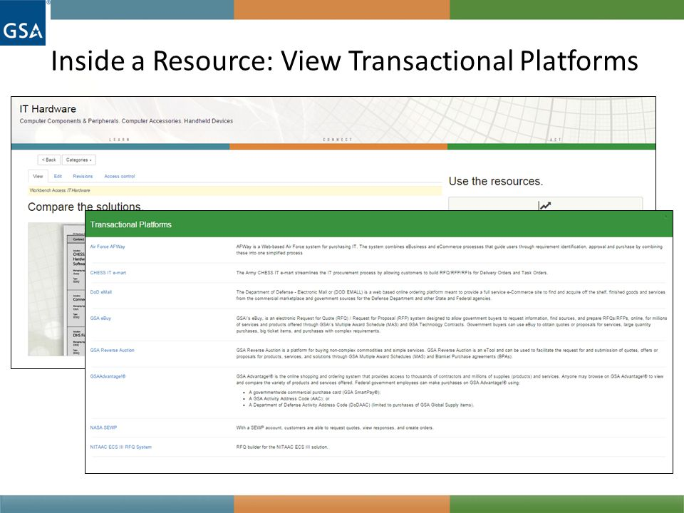 Inside a Resource: View Transactional Platforms
