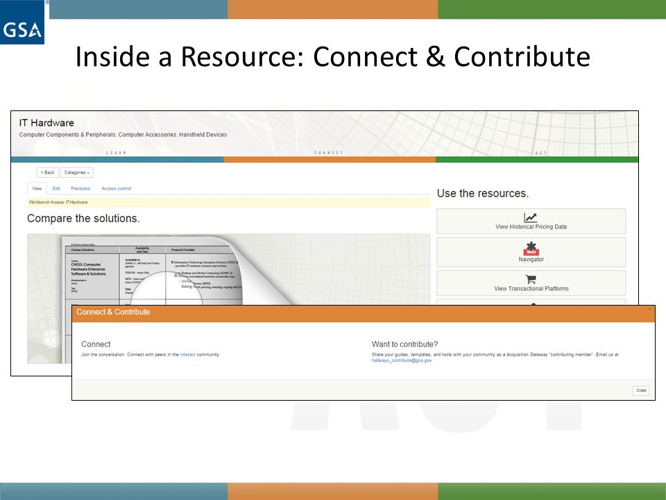 Inside a Resource: Connect & Contribute