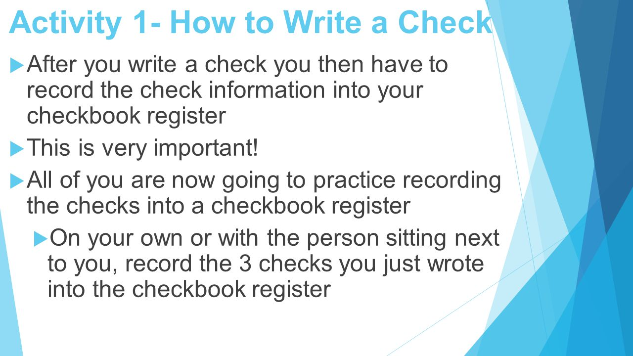 19 Activity 1 How To Write A Check
