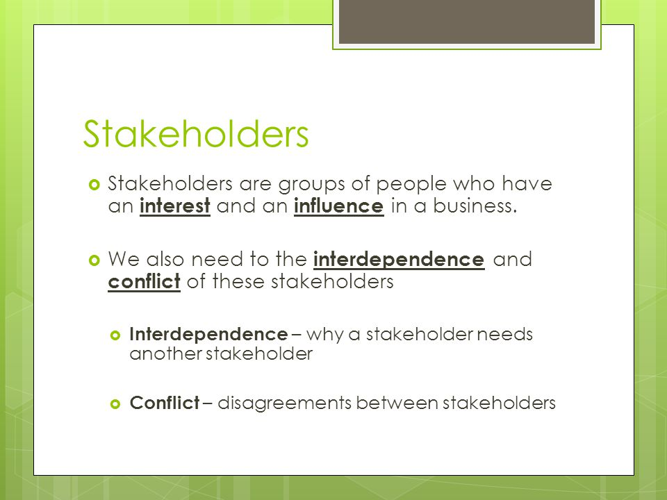 stakeholders are groups of people who Stakeholders are people or organisations who have an interest in  this involves getting people, either individually or in groups,  research project stakeholders.