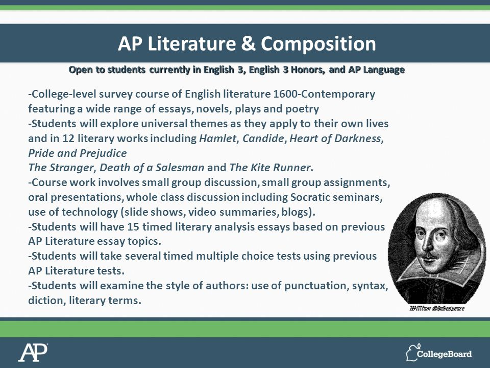 ap literature and composition level essay Ap english literature & composition  timed essay) under testing  • to receive an 'a' in the unit a student must demonstrate 'a' level mastery on all.