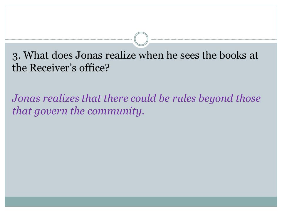3. What does Jonas realize when he sees the books at the Receiver's office.