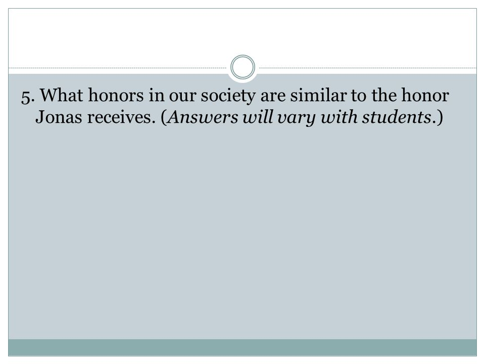 5. What honors in our society are similar to the honor Jonas receives