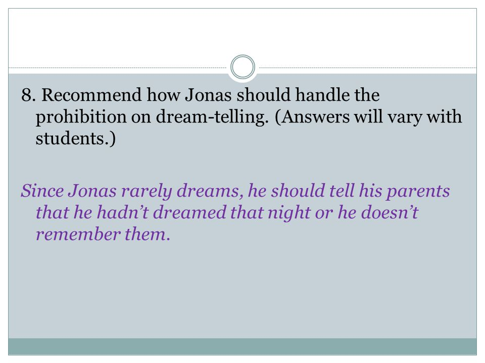 8. Recommend how Jonas should handle the prohibition on dream-telling