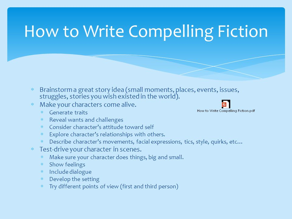 how to write fiction Individuals searching for list of free fiction writing courses and classes found the following resources, articles, links, and information helpful.
