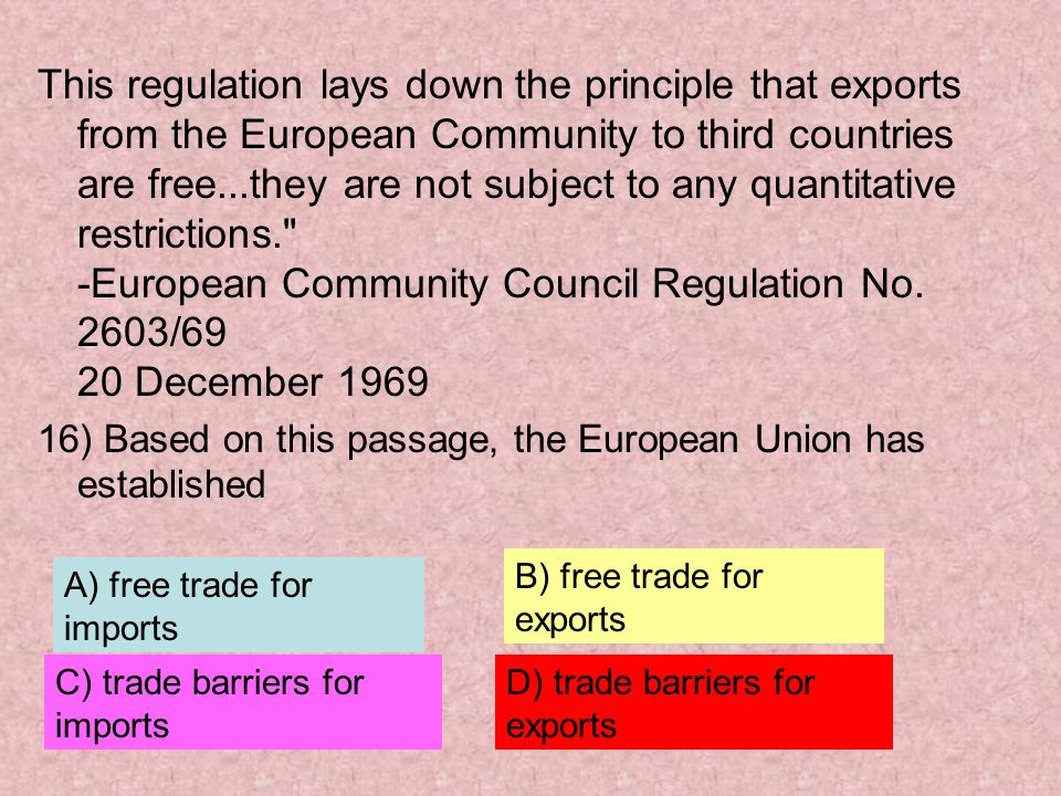 This regulation lays down the principle that exports from the European Community to third countries are free...they are not subject to any quantitative restrictions. -European Community Council Regulation No. 2603/69 20 December 1969