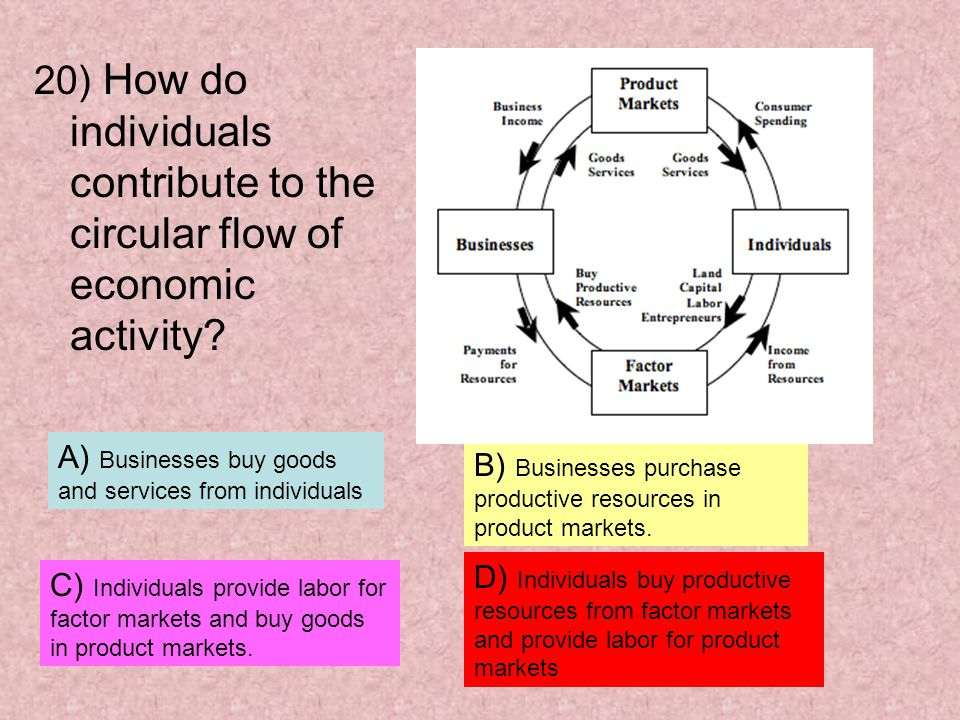 20) How do individuals contribute to the circular flow of economic activity