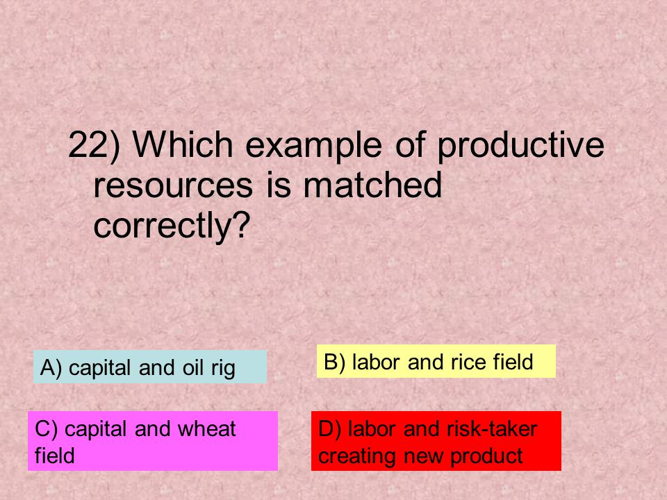 22) Which example of productive resources is matched correctly