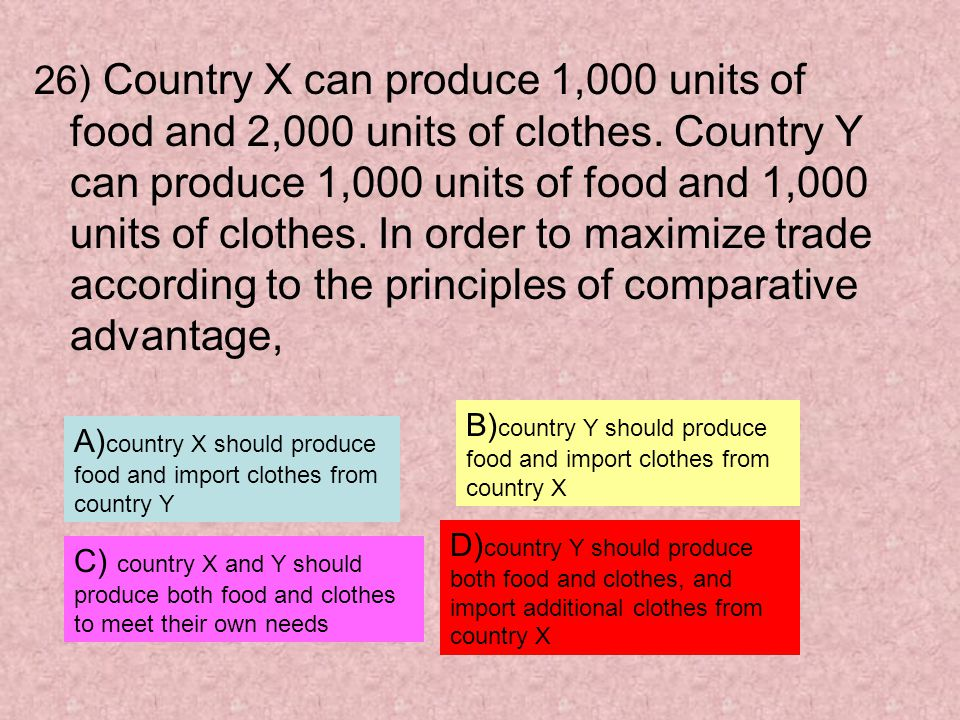 26) Country X can produce 1,000 units of food and 2,000 units of clothes. Country Y can produce 1,000 units of food and 1,000 units of clothes. In order to maximize trade according to the principles of comparative advantage,