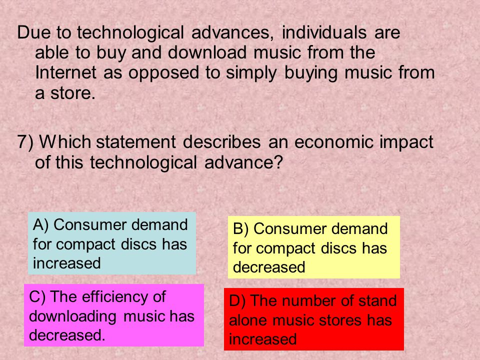 Due to technological advances, individuals are able to buy and download music from the Internet as opposed to simply buying music from a store.