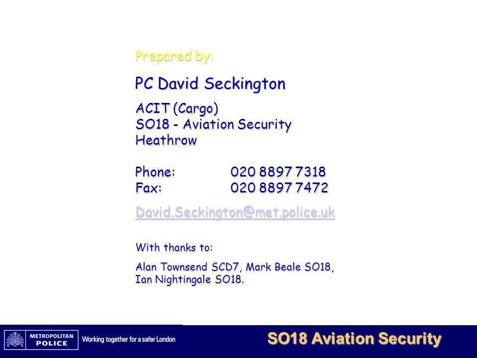 PC David Seckington Prepared by: