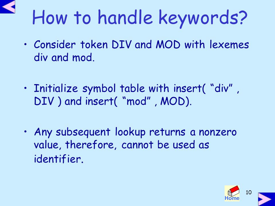 How to handle keywords Consider token DIV and MOD with lexemes div and mod.
