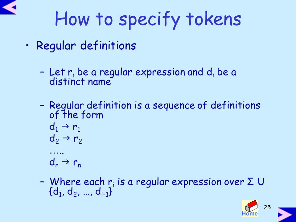 How to specify tokens Regular definitions