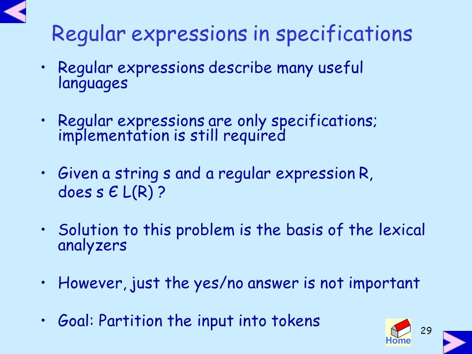 Regular expressions in specifications